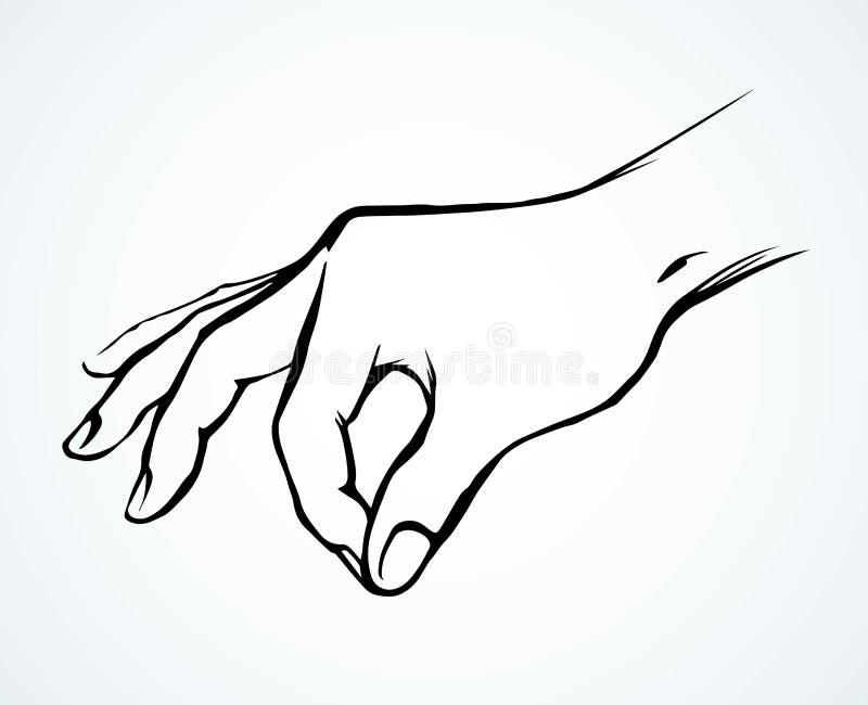 Eine Hand hält eine Klemme Salz Blumenhintergrund mit Gras vektor abbildung