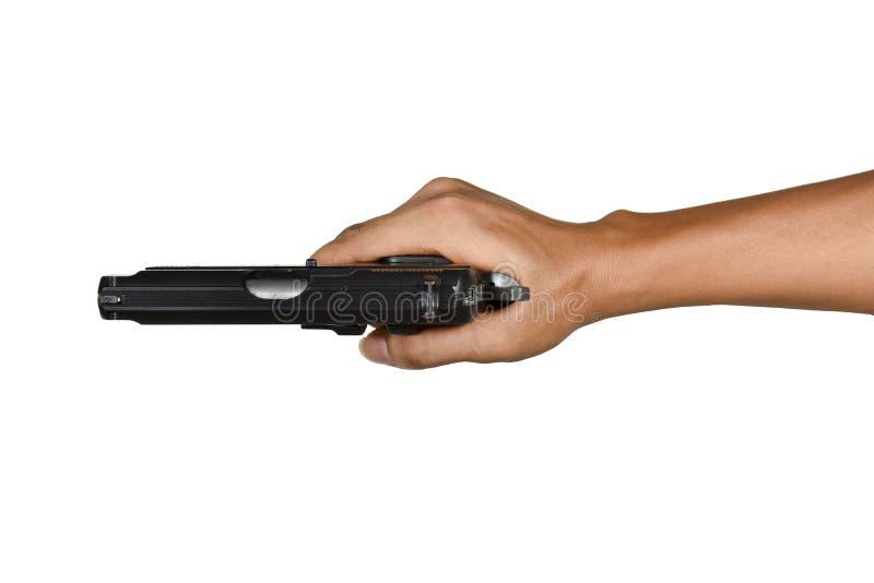 Eine Hand mit einzelner rechter Artansicht der Pistole von oben lizenzfreies stockfoto