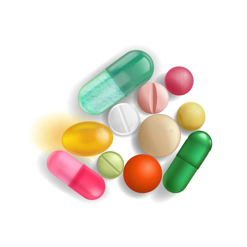 Eine Handvoll Pillen und Vitamine von verschiedenen Farben und verschiedene Größen, die fest neben einander, lokalisiert auf eine stock abbildung