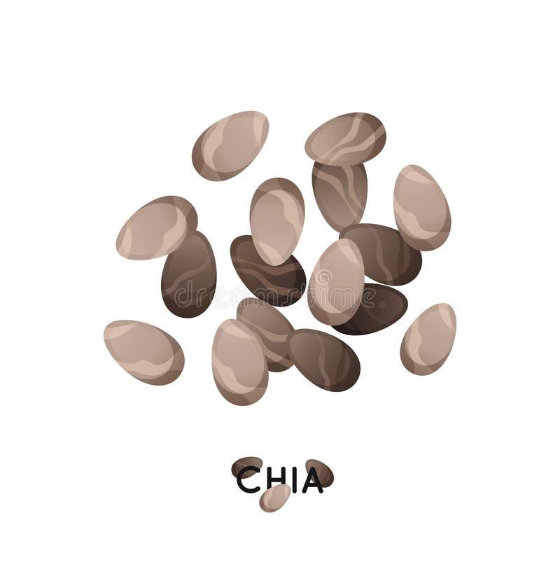 Eine Handvoll von chia Samen Landwirtschaftskultur chia sät Ikone Getreide chia Illustration lizenzfreie abbildung