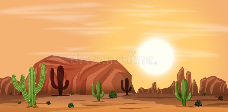 Eine heiße Wüstenlandschaft stock abbildung
