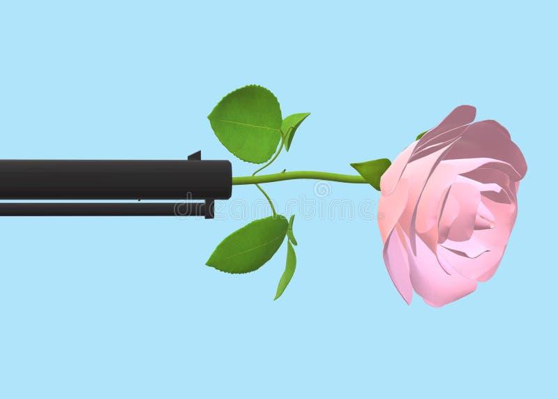 Eine hellrosa farbige Rose gehaftet am Ende eines schwarzen Kanonenrohrs lizenzfreie abbildung