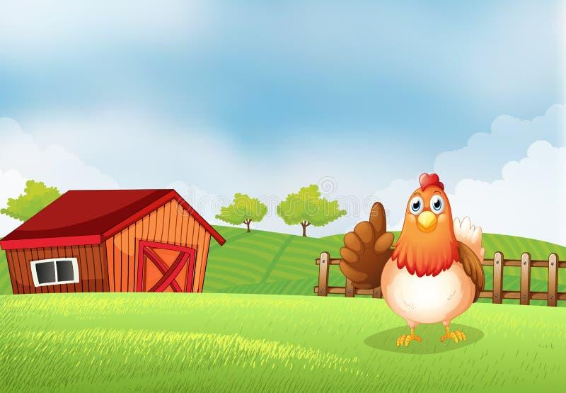 Eine Henne am Bauernhof lizenzfreie abbildung