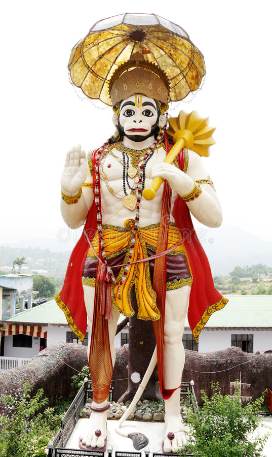 Eine hohe Statue von Hanuman auf dem Weg zu Naukuchiatal stockbilder