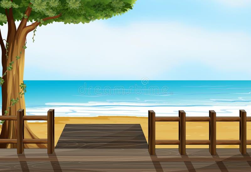 Eine Holzbank auf einem Strand stock abbildung