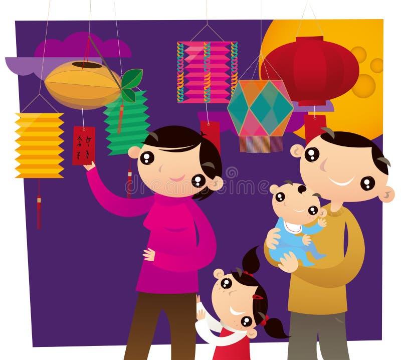 Eine Hong Kong-Familie, die Rätsel-schätzendes Spiel im chinesischen Laternenfestival spielt stock abbildung