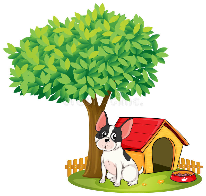 Eine Hundehütte und ein Hund unter einem Baum stock abbildung