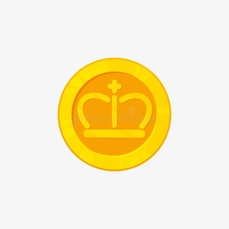 Eine Ikone für Goldmünze von der Seitenansicht Abbildung des Vektor 3d Der beste auserlesene Ausweis Siegerpreis lizenzfreie abbildung