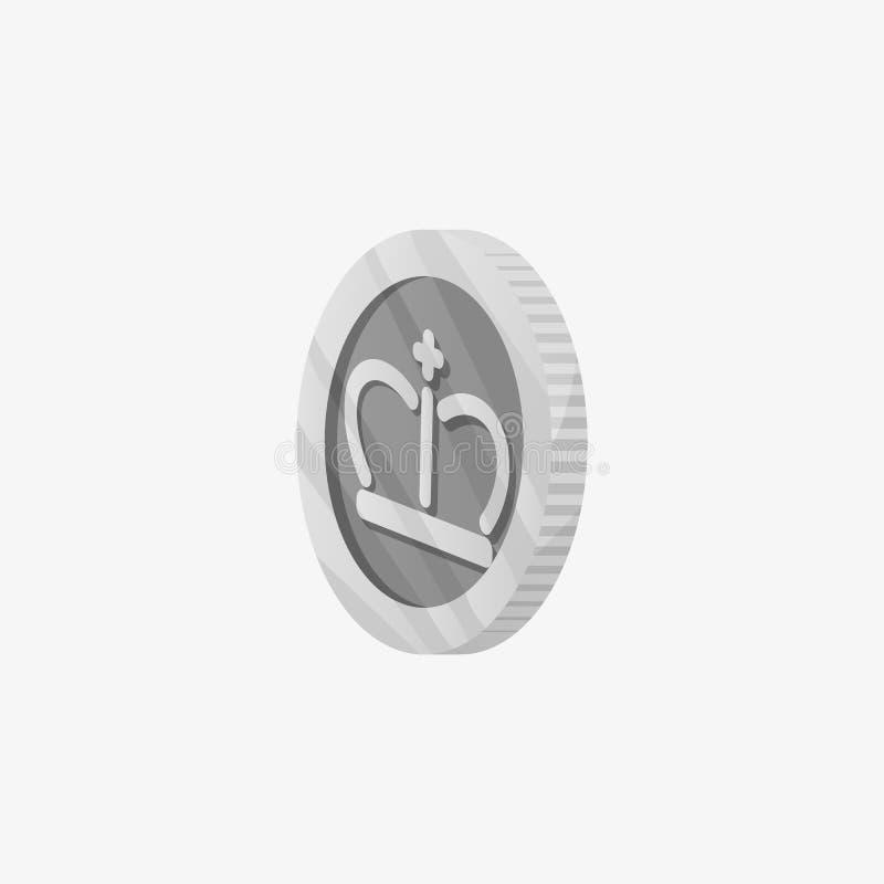 Eine Ikone für Silbermünze von der Seitenansicht Abbildung des Vektor 3d Der beste auserlesene Ausweis Siegerpreis stock abbildung