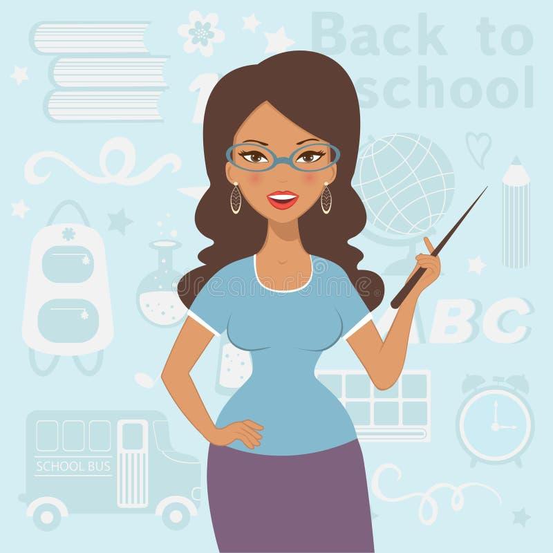 Eine Illustration des schönen Lehrers in der Schule lizenzfreie abbildung