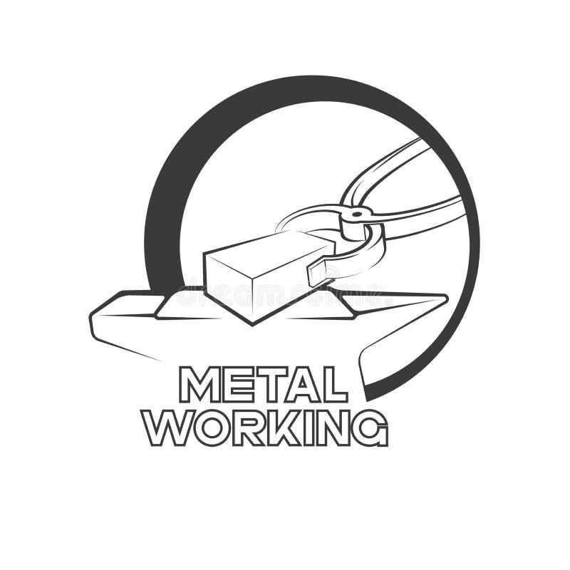 eine Illustration, die besteht aus einem Bild Schmied- ` s von Zangen und von Text ` Metallarbeits-` stock abbildung