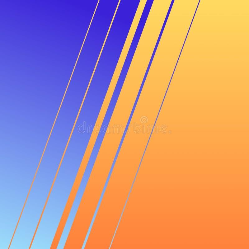 Eine Illustration einer netten schauenden Tapete in den Linien Art mit den blauen und orange Steigungsfarben vektor abbildung