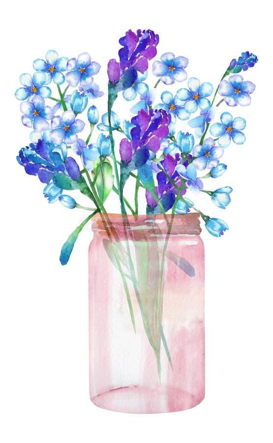Eine Illustration eines Blumenstraußes der Wildflowers Blumen (des Vergissmeinnichts (Myosotis) und des Lavendels) in einem Glasg lizenzfreie abbildung