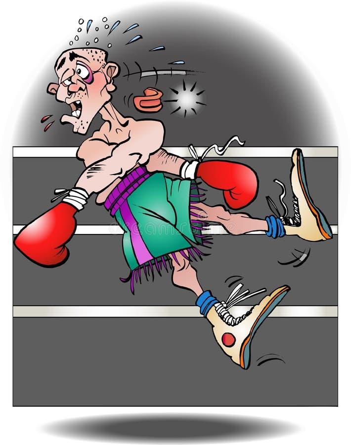 Eine Illustration eines Boxers heraus geklopft stock abbildung