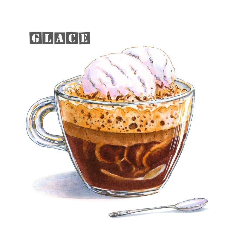 Eine Illustration eines Kaffees glace mit zwei Bällen Vanilleeis in einer Glasschale stock abbildung