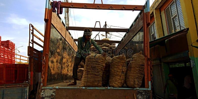 Eine indische Dorfarbeit zieht Gemüsesack vom LKW stockbilder
