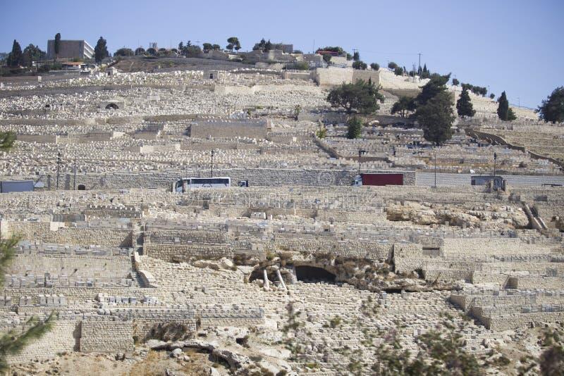 Eine interessante Ansicht fern an vom Ölberg von Jerusale lizenzfreies stockfoto