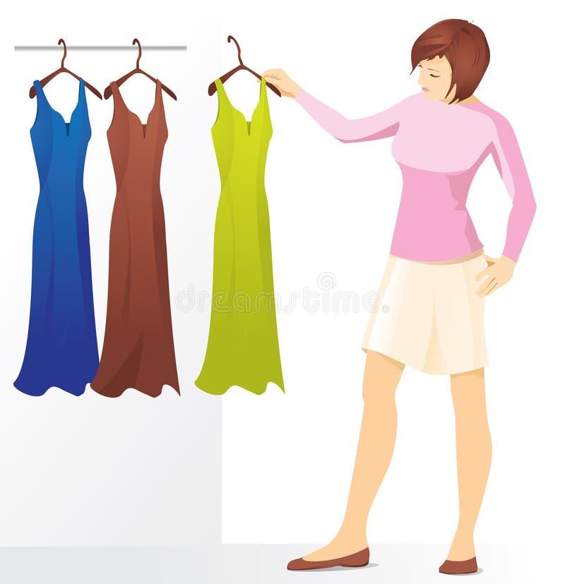 Eine junge Brunettefrau wählt ein Kleid vektor abbildung