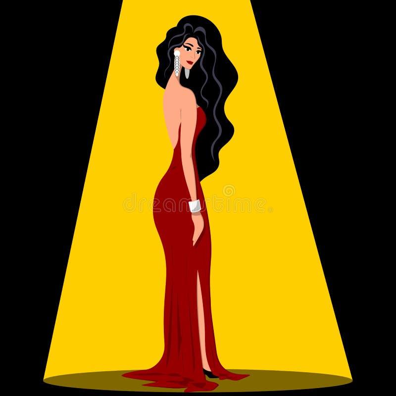 Eine junge dünne Frau in einem schwarzen Glättungskleid steht halb eine Drehung in den Strahlen des Lichtes Illustration in der f stock abbildung