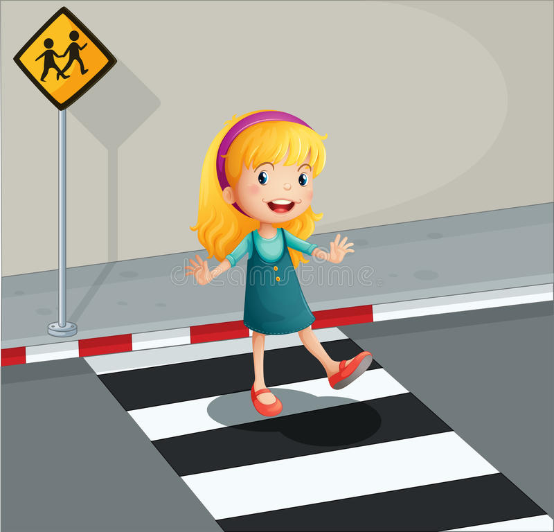 Eine junge Dame, die den Fußgängerweg kreuzt stock abbildung