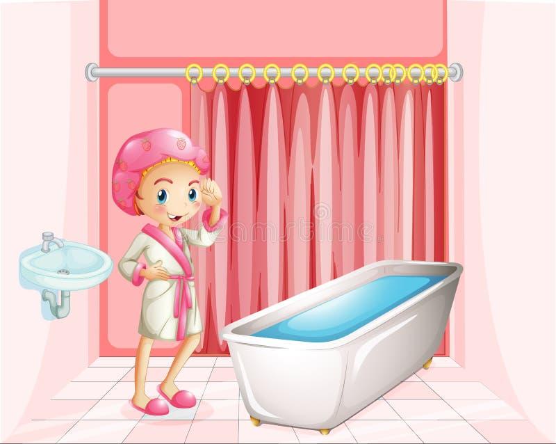 Eine junge Dame, die ein Bad im Badezimmer nimmt lizenzfreie abbildung