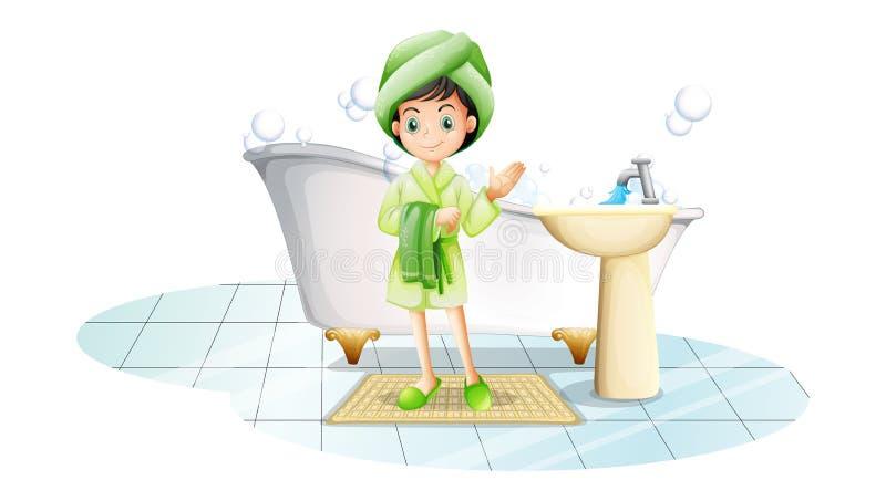 Eine junge Dame, die ein Bad mit einem grünen Tuch nimmt stock abbildung