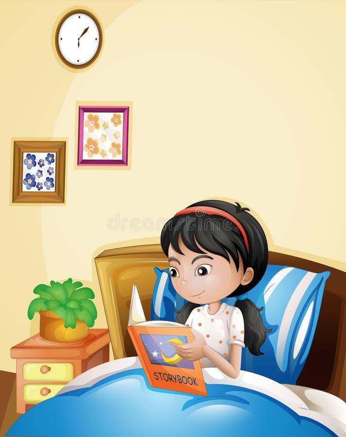 Eine junge Dame, die ein Märchenbuch in ihrem Bett liest stock abbildung