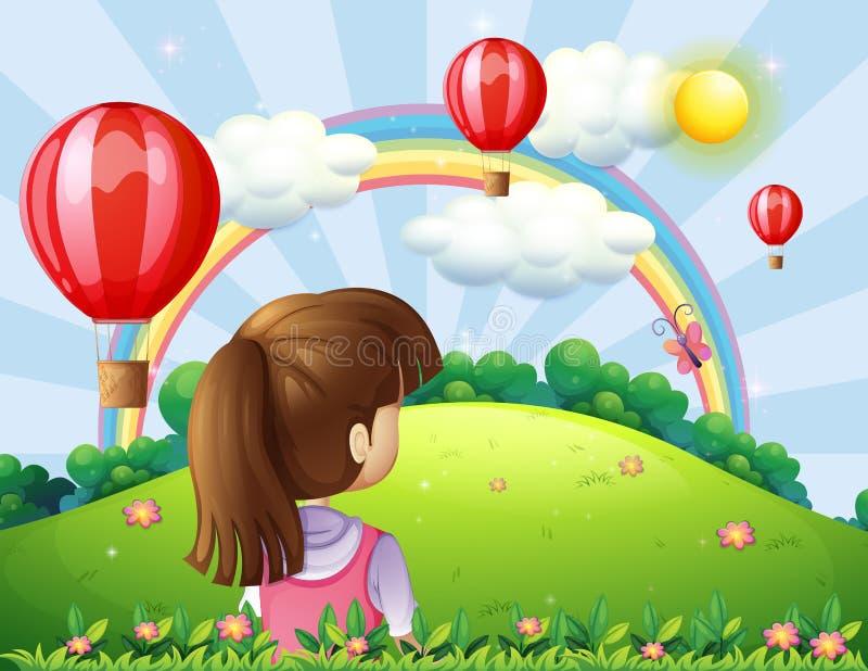 Eine junge Dame, welche die sich hin- und herbewegenden Ballone und den Regenbogen aufpasst vektor abbildung