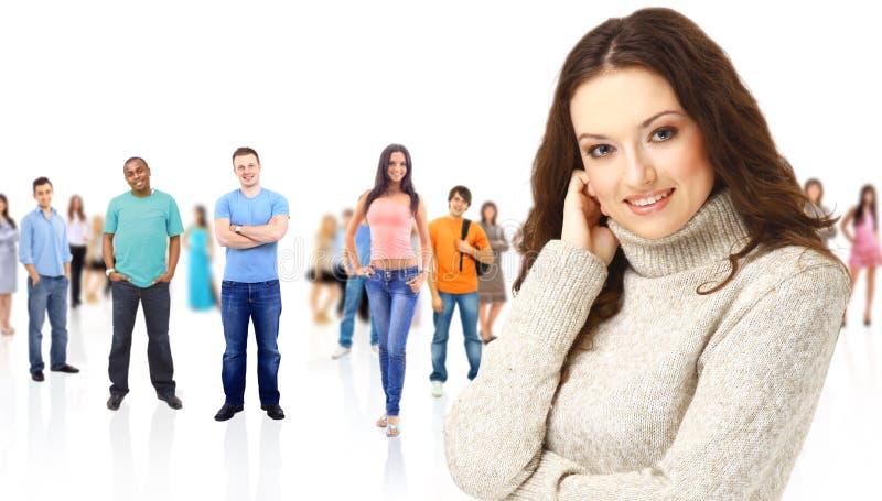 Eine junge Frau mit großer Gruppe stockfoto