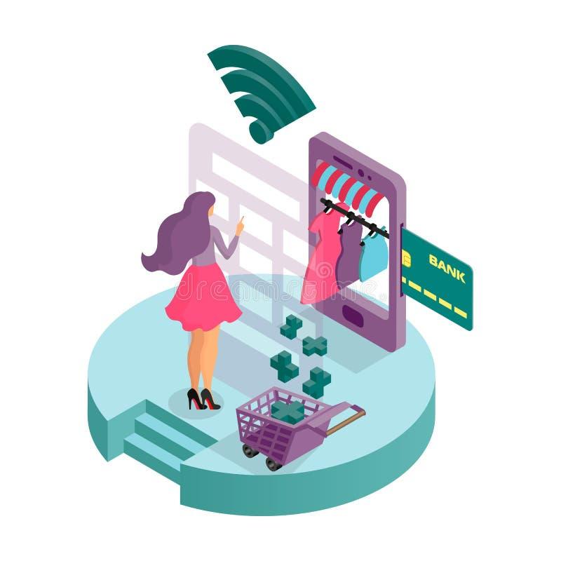 Eine junge Frau schließt einen Kauf im Online-Shop der Kleidungs der Frauen ab Isometrische Ikone 3D Infographics lizenzfreie abbildung