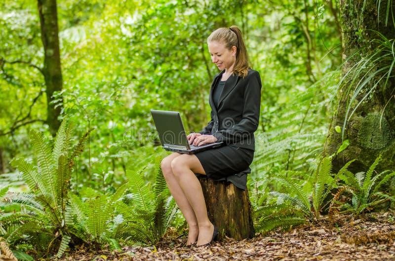 Eine junge Geschäftsfrau, die an ihrem Laptop im Wald arbeitet stockbilder