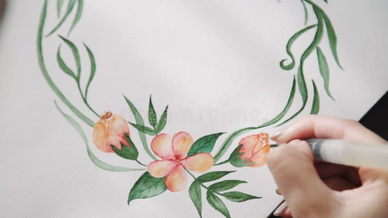 Eine Junge Künstlerin, Farben Mit Aquarell Malt Blumen Einer ...