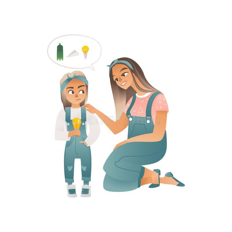 Eine junge kaukasische Frau erklärt Ökologie einem kleinen Mädchen vektor abbildung