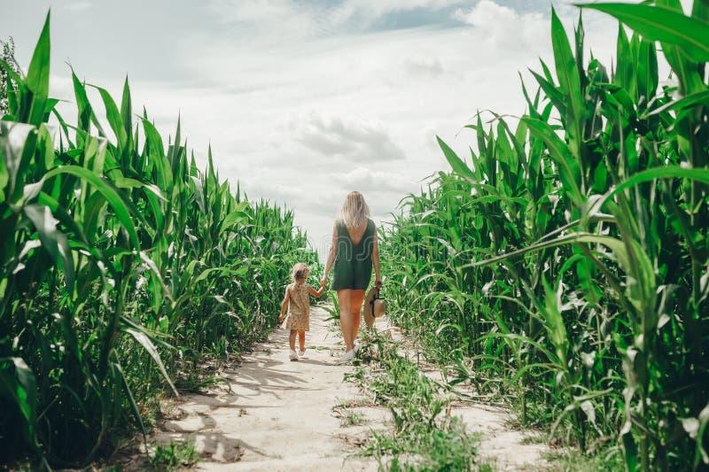 Eine junge Schönheit mit ihrer kleinen netten Tochter, die auf dem Maisgebiet an einem sonnigen Sommertag geht R?ckseitige Ansich stockfotografie