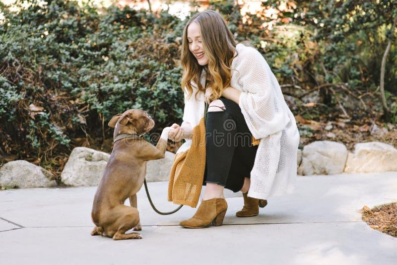 Eine junge weiße Frau rüttelt Hände mit ihrem Schoßhund Bostons Terrier lächelt glücklich stockfotos