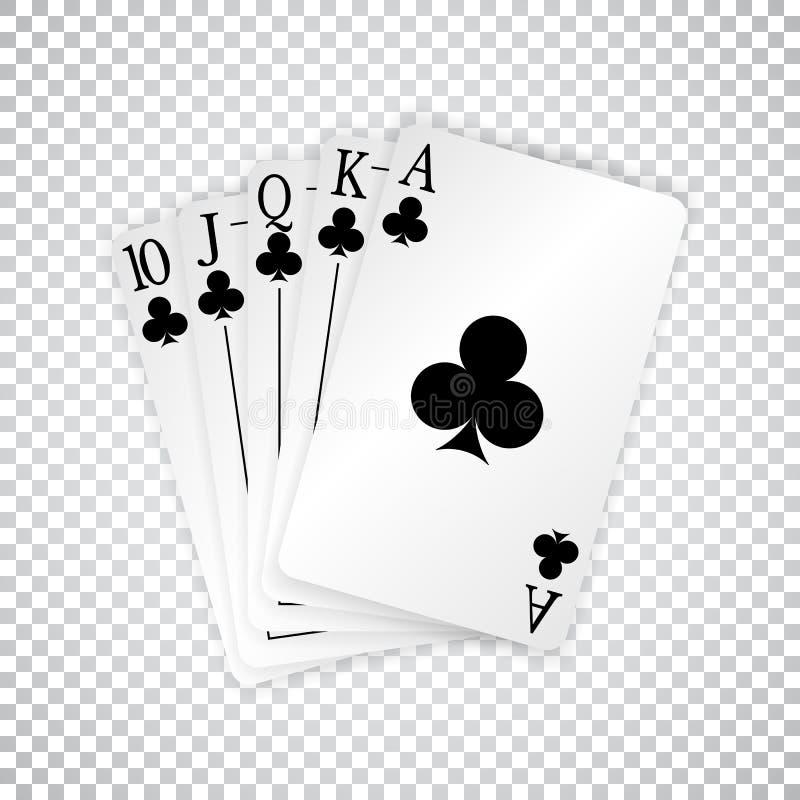 Eine königliche Spielkarte-Pokerhand des geraden Errötens in den Vereinen vektor abbildung