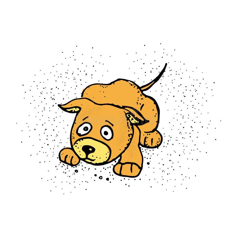 Eine Karikaturillustration eines Hundes erschrocken Netter Hund Emoji-Karikatur lizenzfreie abbildung
