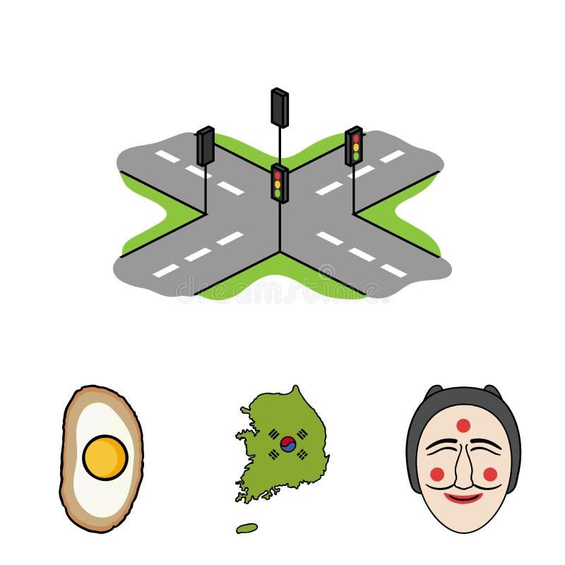Eine Karte des Zustandes mit einer Flagge, eine koreanische Maske, eine nationale Eimahlzeit, Kreuzungen mit Ampeln Ausführliche  lizenzfreie abbildung