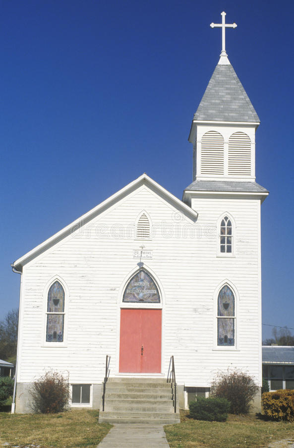 Eine Kirche entlang dem Missouri in Augusta, Missouri stockbild