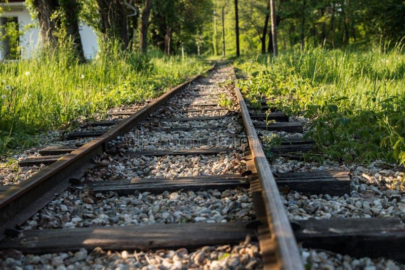 Eine kleine Eisenbahn fokussiert lizenzfreies stockfoto