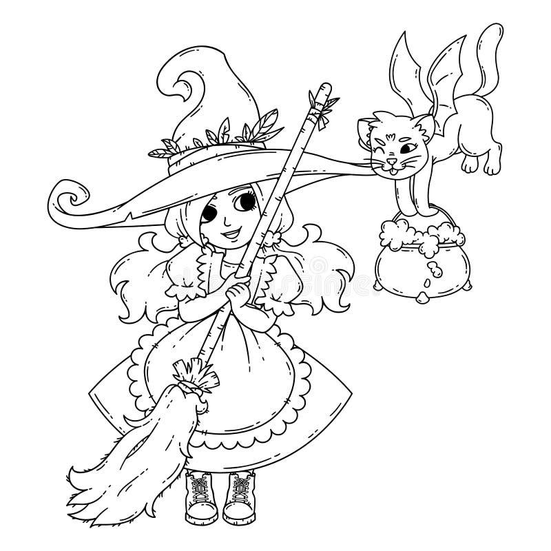 Eine kleine Hexe mit einem Besen, einer Katze und einem Topf lizenzfreie stockfotografie