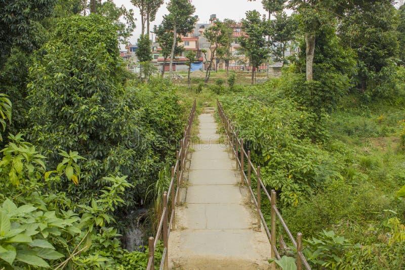 Eine konkrete Fußbrücke mit einem Geländer über einem kleinen Fluss im grünen Wald auf dem Hintergrund von Häusern lizenzfreie stockfotografie