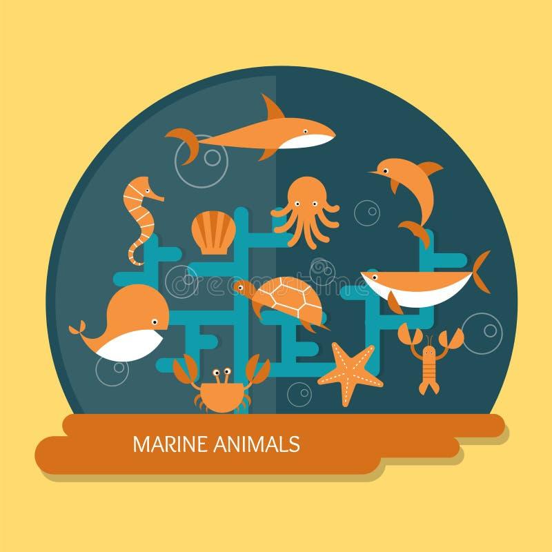 Eine Krake, ein Wal und ein Delphin lizenzfreie abbildung