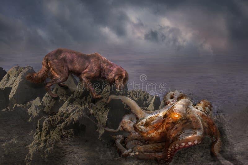 Eine Krake isst einen Hund Manipulationsfoto des Hundes und des otupus im Meer, Fantasie lizenzfreies stockbild
