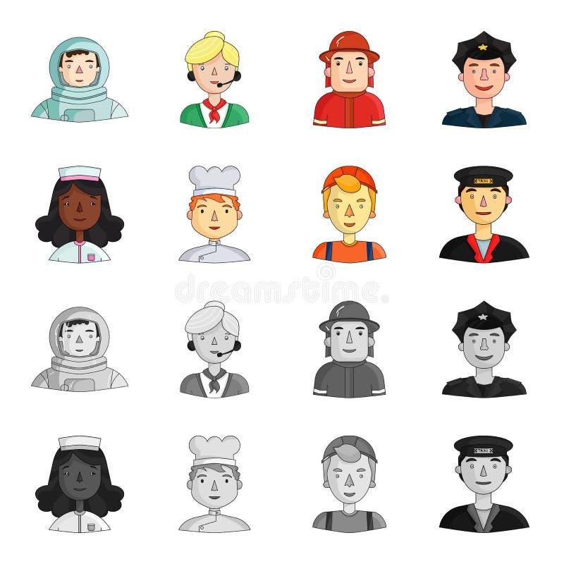 Eine Krankenschwester, ein Koch, ein Erbauer, ein Taxifahrer Leute von verschiedenen Berufen stellten Sammlungsikonen in der Kari lizenzfreie abbildung