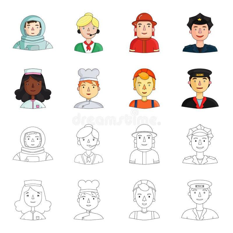 Eine Krankenschwester in einem Hausmantel, ein Koch, ein Erbauer, ein Taxifahrer Leute von verschiedenen Berufen setzten Sammlung vektor abbildung