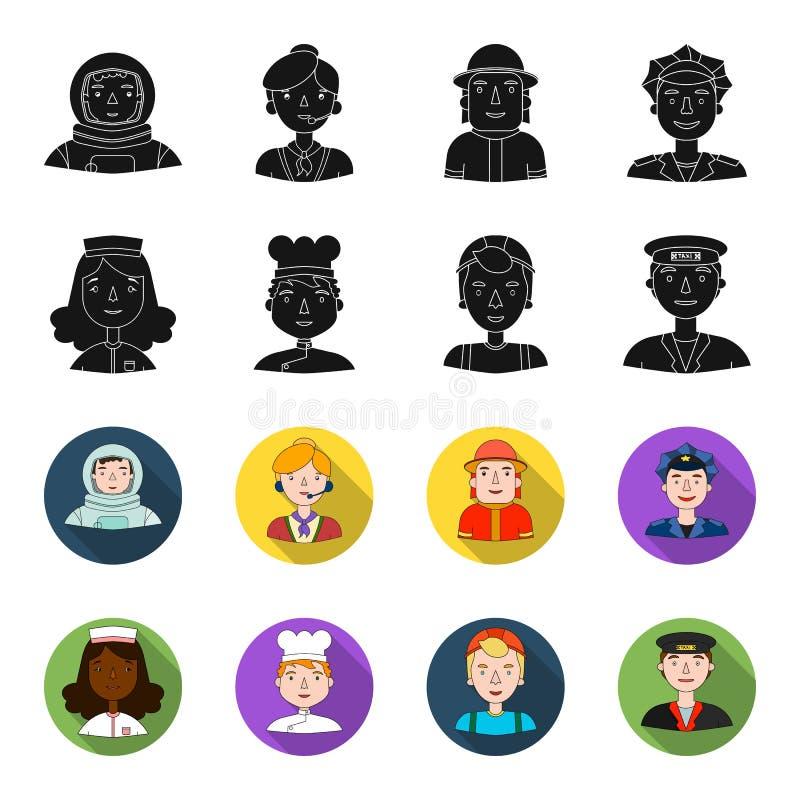 Eine Krankenschwester, Kleid, ein Koch, ein Erbauer, ein Taxifahrer Leute von verschiedenen Berufen stellten Sammlungsikonen im S stock abbildung