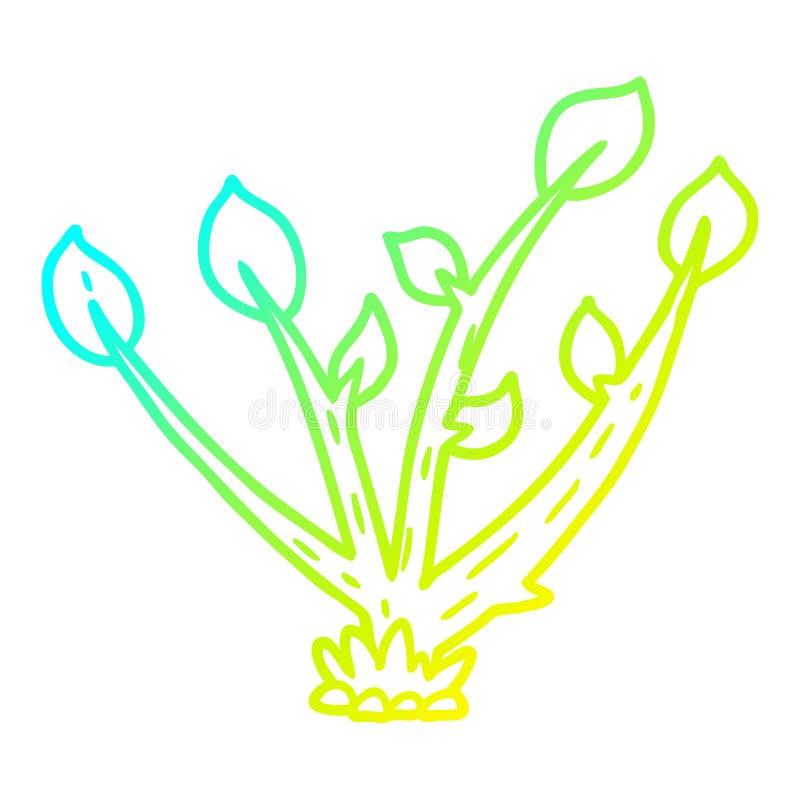 Eine kreative Kalt-Gefälle-Linie Zeichnen Karikatur Keimung Keime vektor abbildung