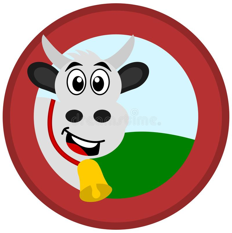 Eine Kuh mit Glocke in einem roten Logo mit einer Wiese und einem Himmel stock abbildung
