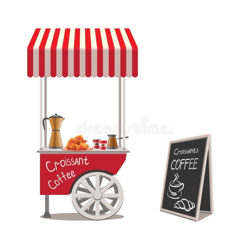 Eine Laufkatze mit Schnellimbiß mit einer gestreiften Überdachung auf einem weißen Hintergrund Schwarzes Brett mit Menü Kaffee, K stockbilder
